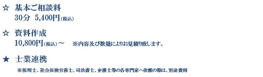 円満相続支援(料金表:税率8%)